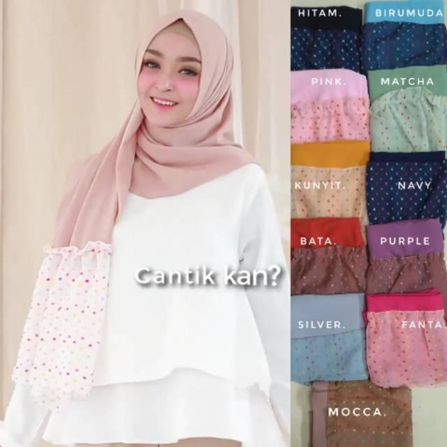 Jilbab Pashmina Instan Polkadot Hijab Pastan Rempel Polkadot Pastan 1 Lubang Shopee Indonesia