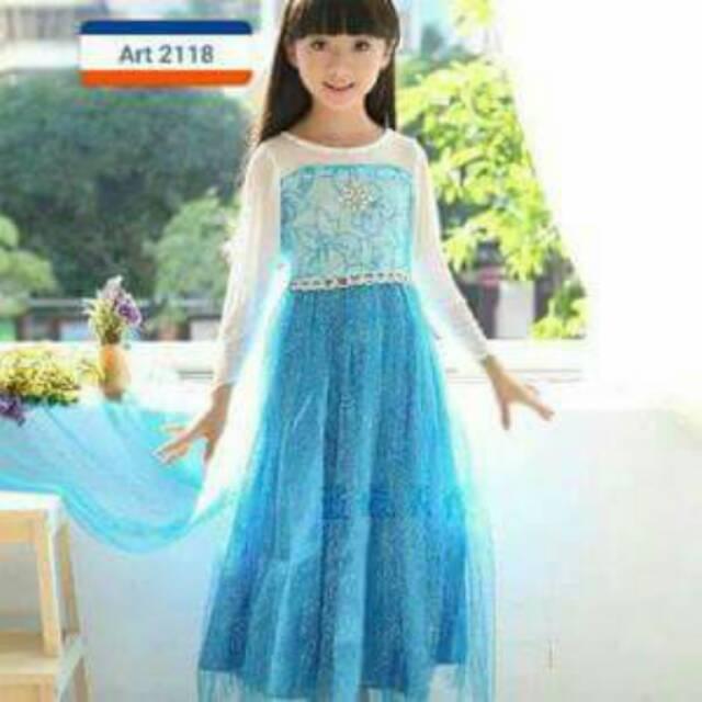Kostum Elsa Frozen anak 4 - 8 Tahun / Baju Ulang Tahun Princess