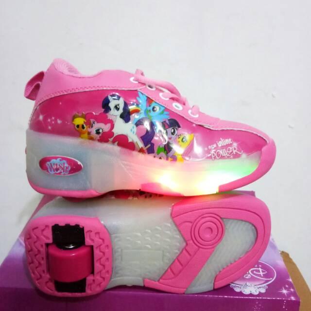 Sepatu Roda 1 Anak Lampu Pony Kuda Poni Import Murah Promo Asli