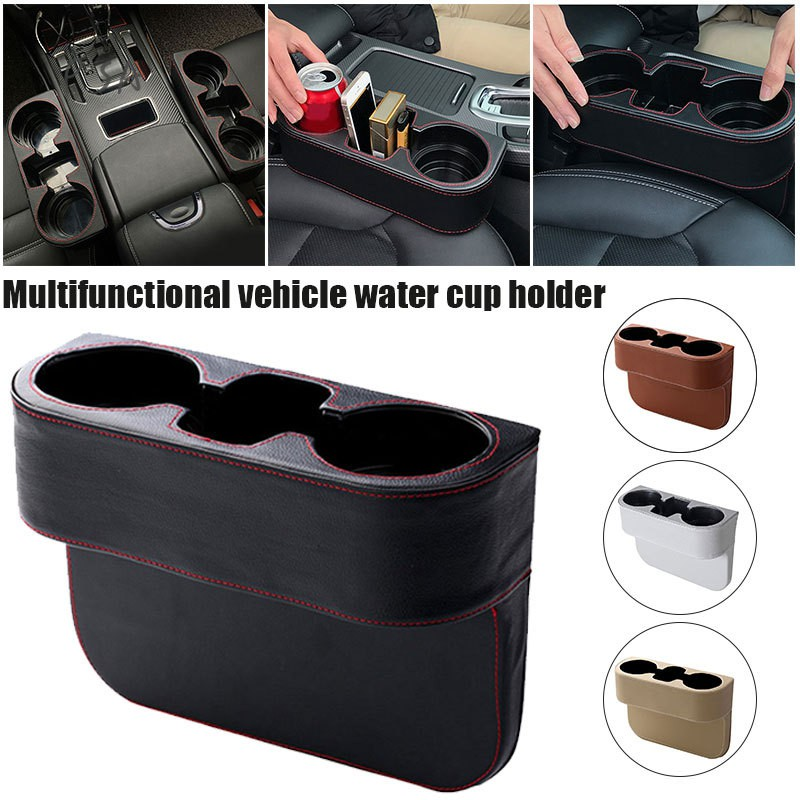 Beige Car Leather Water Drink Cup Holder