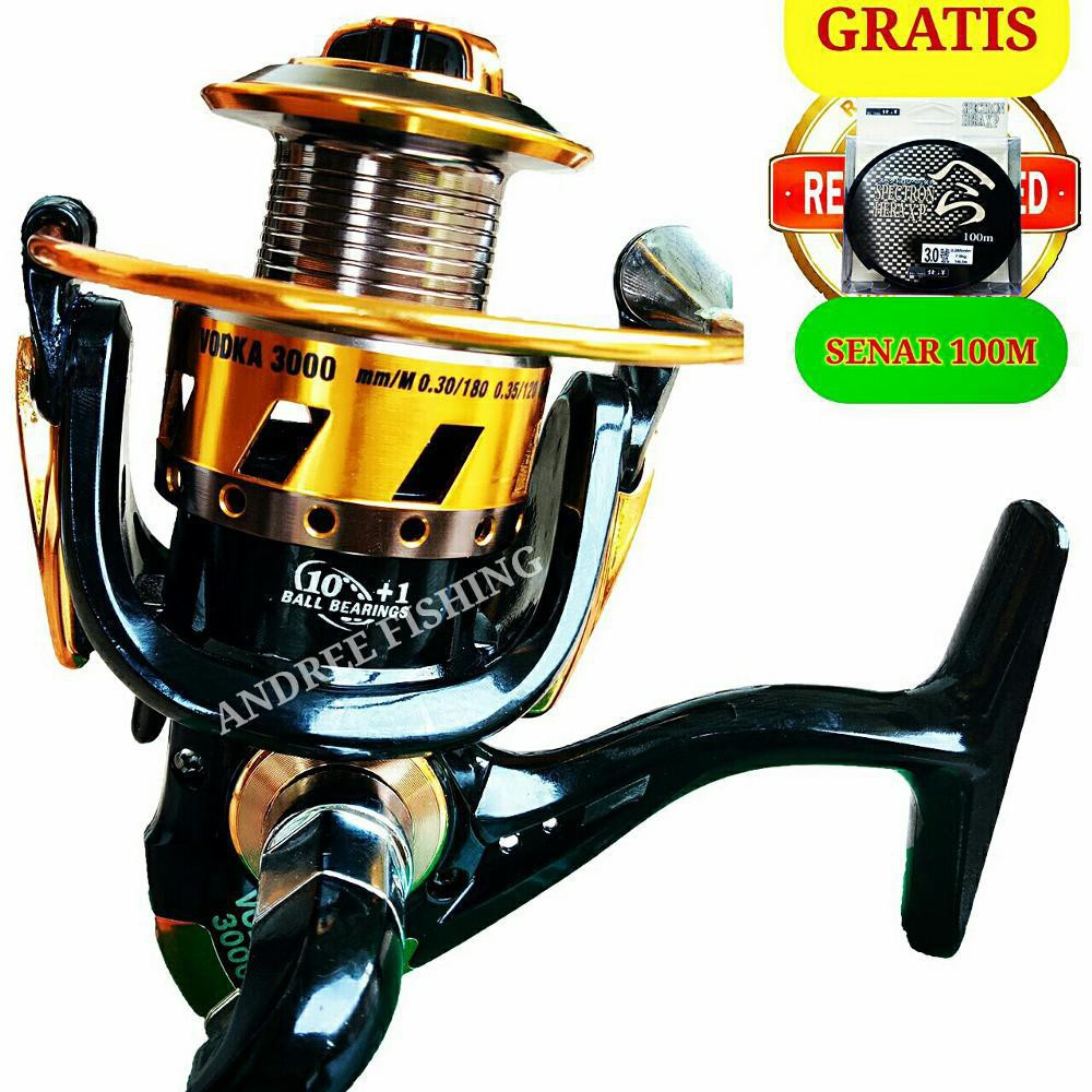 Reel Pancing Catfish Vodca 3000 Gold 11 Bearing Aluminium Spool Tegek Bahan Logam Peralatan Mancing A21 Shopee Indonesia