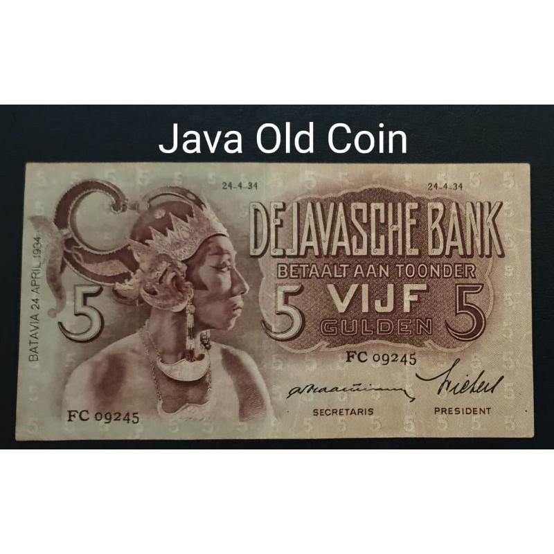 Uang Kuno 5 Gulden 1934 Wayang Ttd Praasterink Shopee Indonesia