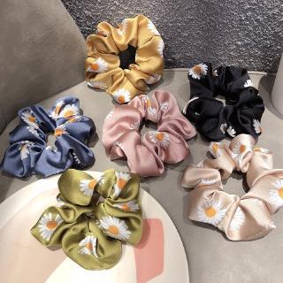 Ikat Rambut Ponytail Elastis Bahan Satin Bunga Daisy Aster Perancis Gaya Korea Untuk Wanita thumbnail