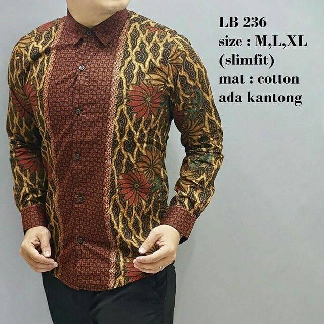 lb 125 baju batik kemeja pria slim fit lengan panjang bagus keren mewah  berkualitas elegan  19ae88772f