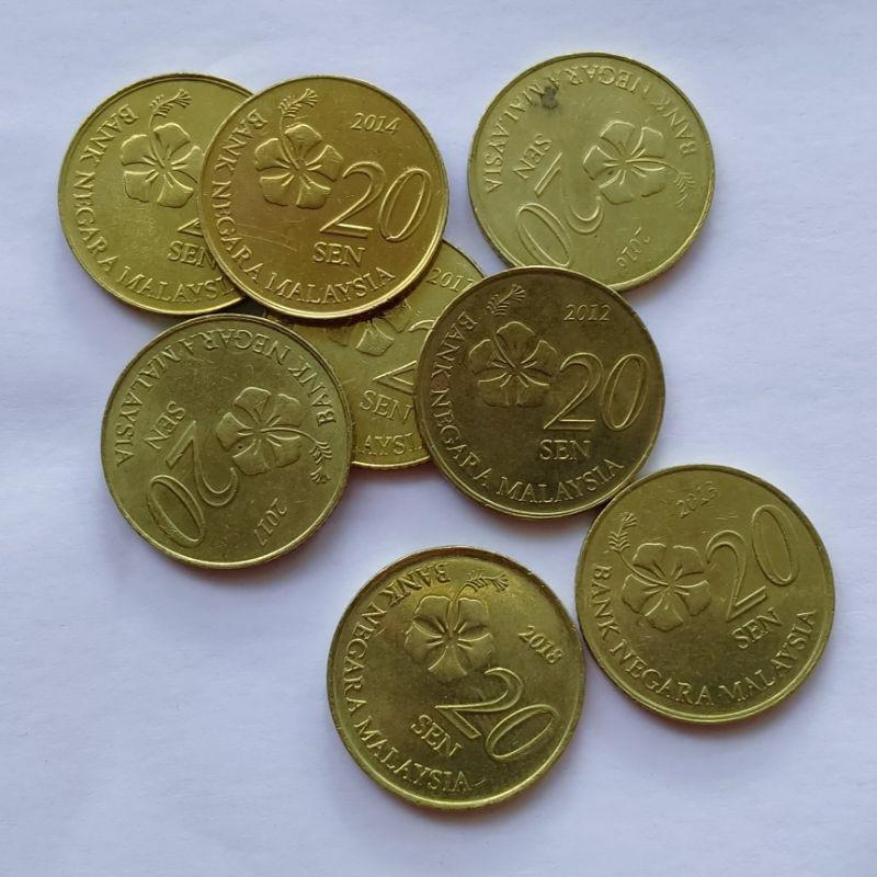 Koin asing Malaysia 20 sen Kuning