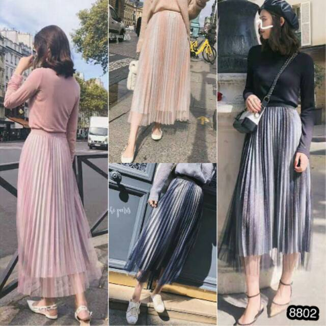Rok plisket suede | Shopee Indonesia -. Source · Jfashion Rok Plisket panjang selutut - Rossi ...