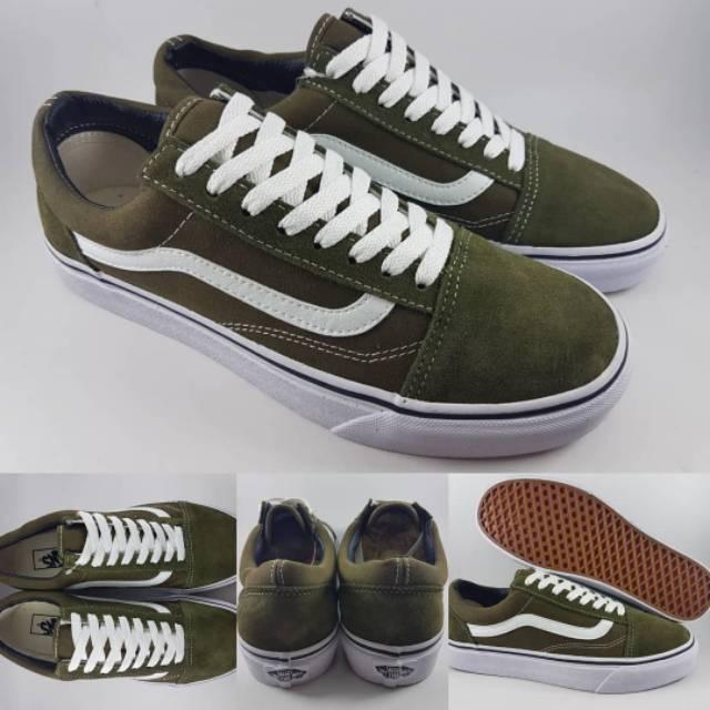 Sepatu Vans Oldskool Old Skool classic Green Army Original Premium 100% Import Termurah Terlaris
