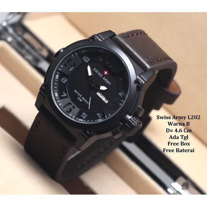 """""""""""Jam Tangan Pria / jam tangan Murah Swiss Army Daydate Dark Brown White"""""""" JAM TANGAN 2019 Q5K8"""