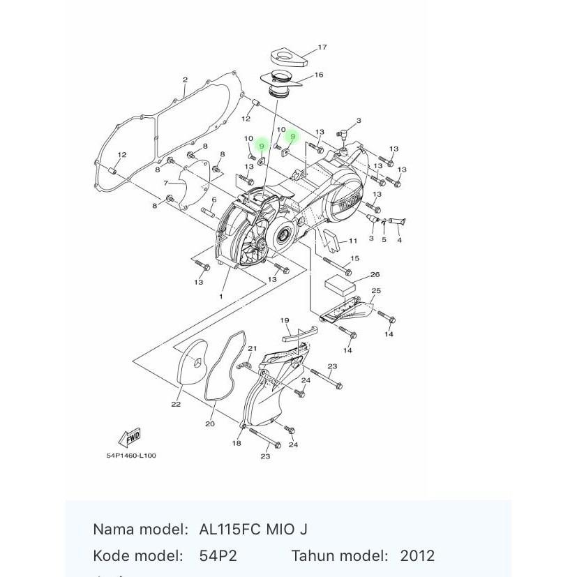 Motor Matic / Baut Plat Bak Cvt 95022-06010 Mio J, Mio Gt, Filano, Mio Z