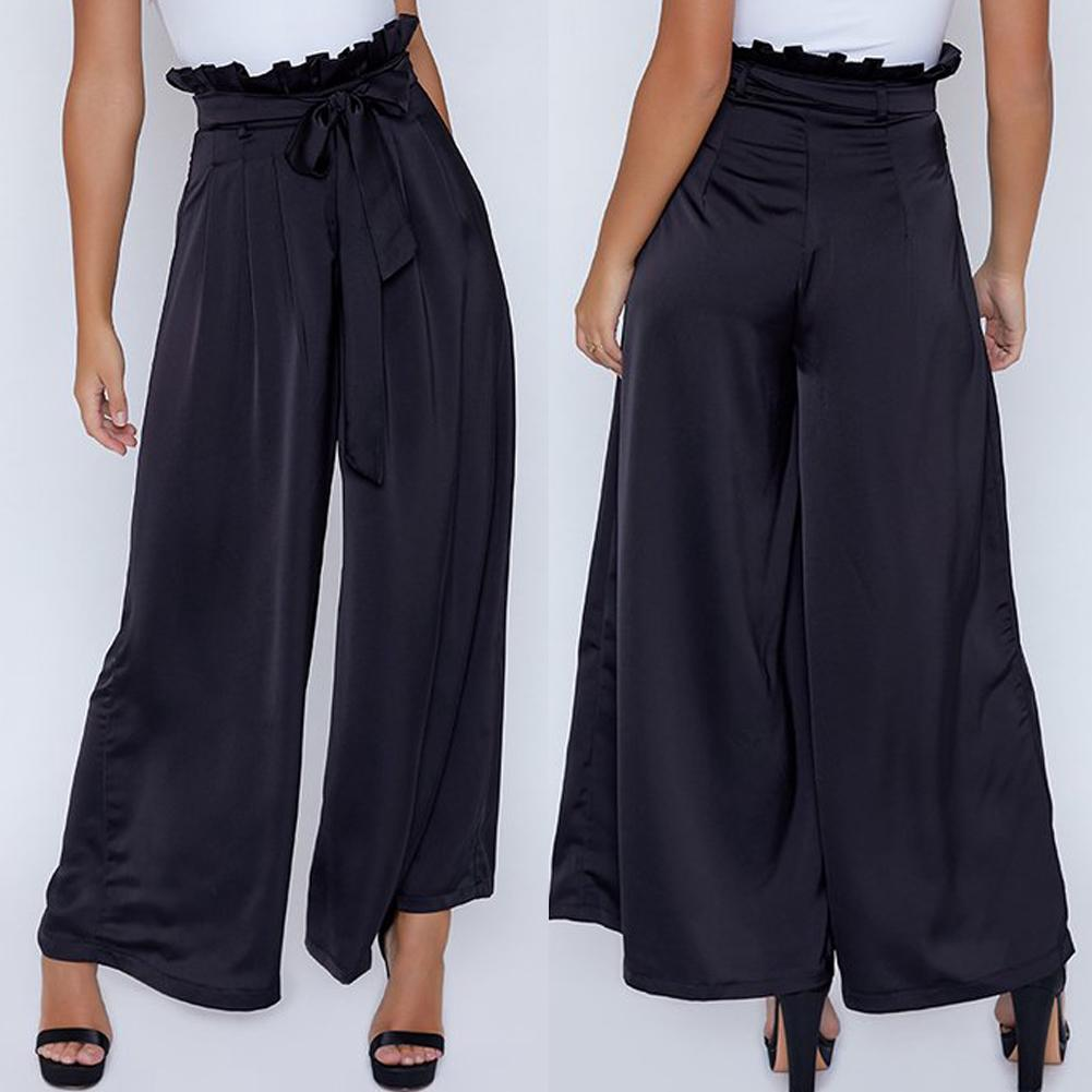 b43f5f14e6 AGA-NEW Women Casual High Waist Bandage Striped Loose Black Wide Leg Long  Pants