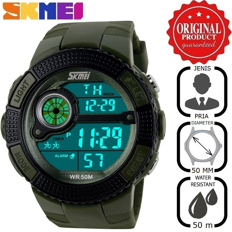Pria Water Resistant 50m Rubber Strap - Hitam. Source · Water Resistant .