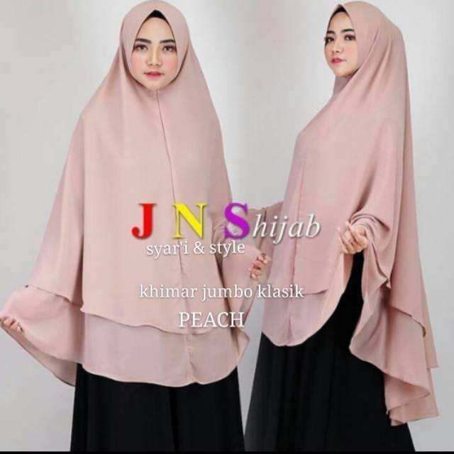 Premium Khimar Syari Ceruti 2 Layer Jumbo Classic Ori Jns Pet Antem Hijab Umrah Dan Sholat Shopee Indonesia