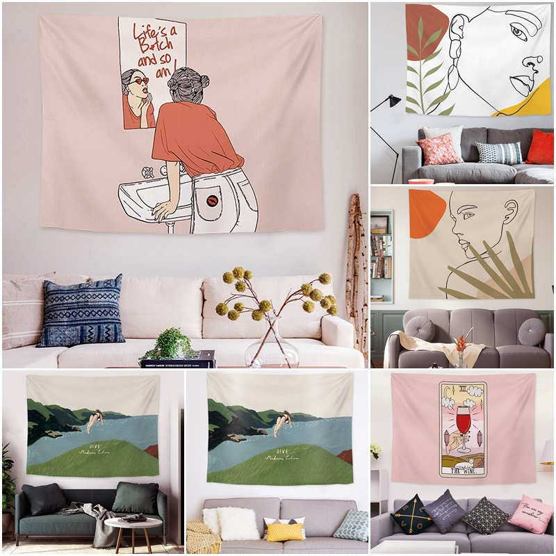 Ins Background Tapestry Bedroom Wall Hanging Cloth Home Decor Reusable Shopee Indonesia