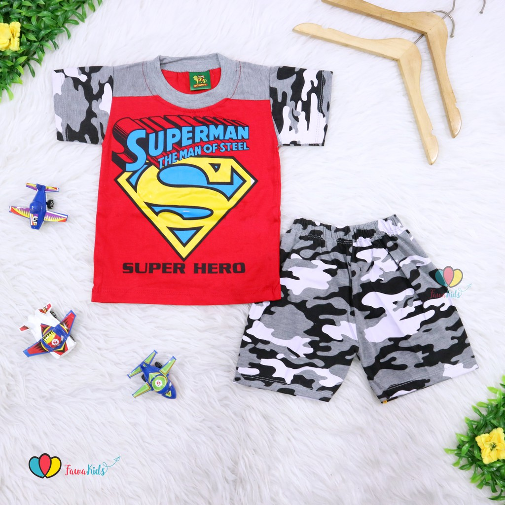 Setelan kaos superman baju kodok motif army pergi jalan casual fashion anak bayi cowok laki murah | Shopee Indonesia