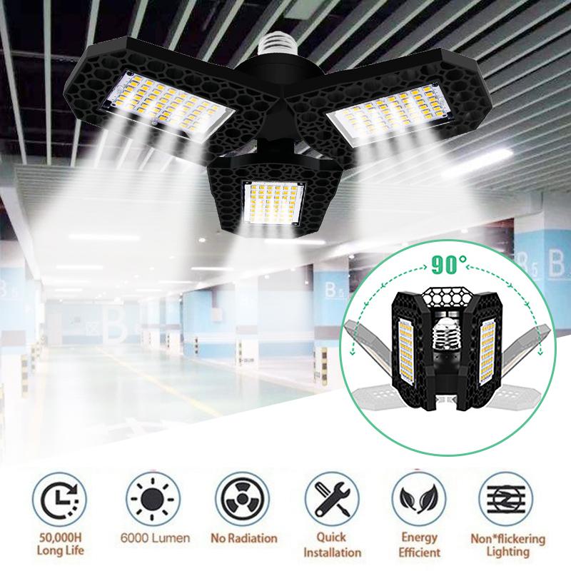 New Led Garage Lights 6000lm 60w E27 Garage Ceiling Light Adjustable Led Work Light Bulbs With 3 Panel Led Shop Lights Shopee Indonesia