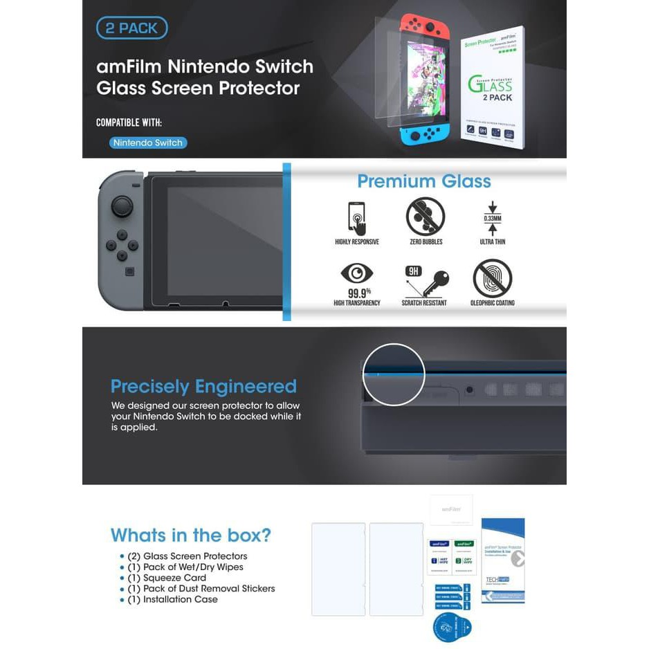 Amfilm Tempered Glass Screen Protector Nintendo Switch 2 Pack Kode 483 Shopee Indonesia