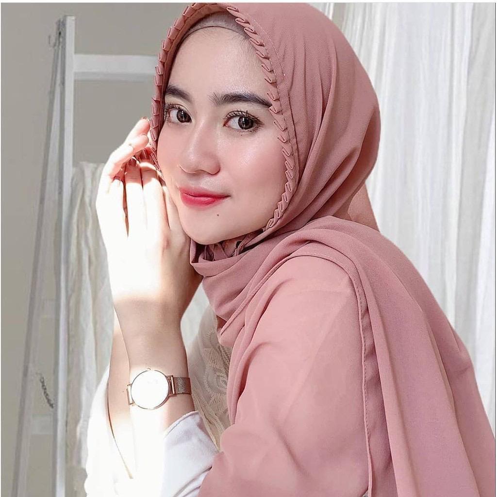 Pashmina Lipit Tali Instan Hijab Polos Jilbab Fashion Wanita Muslimah Syariah Shopee Indonesia