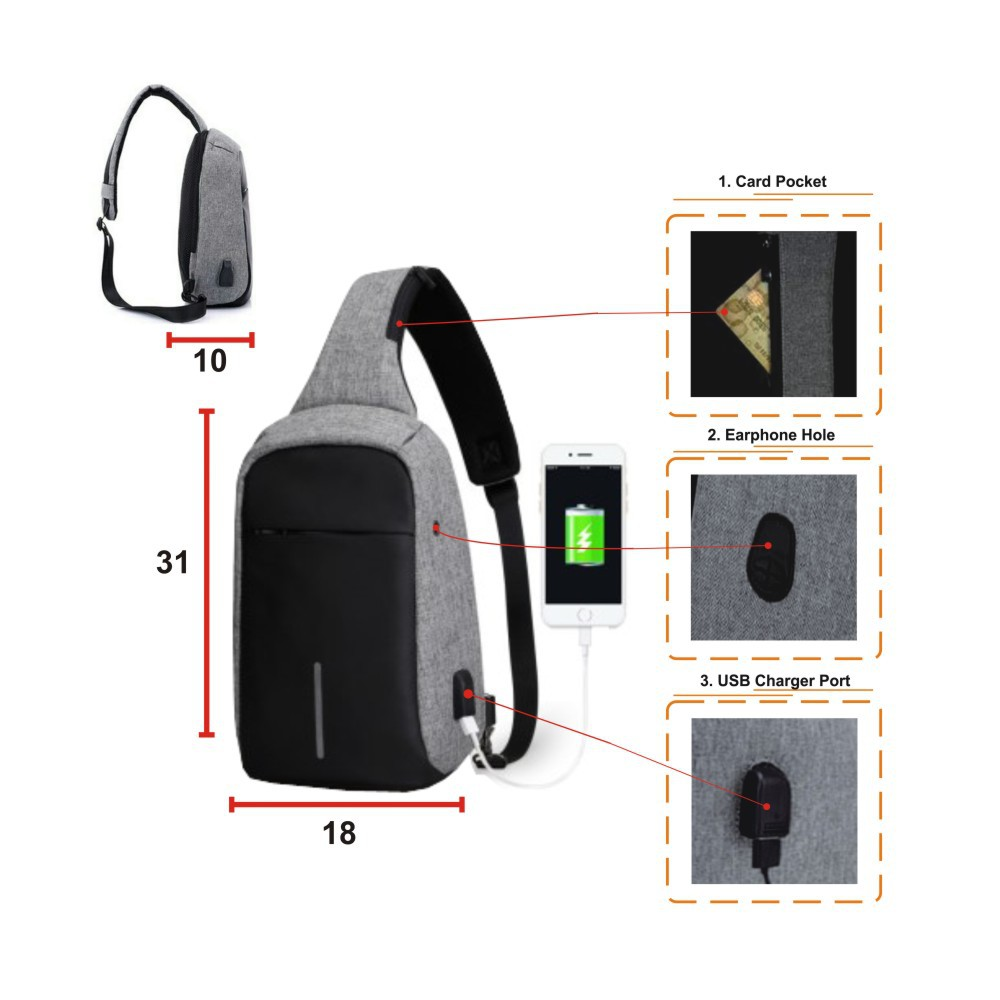 Tas Sling selempang Anti Maling Anti Theft Smart USB Port CHARGER | Shopee Indonesia