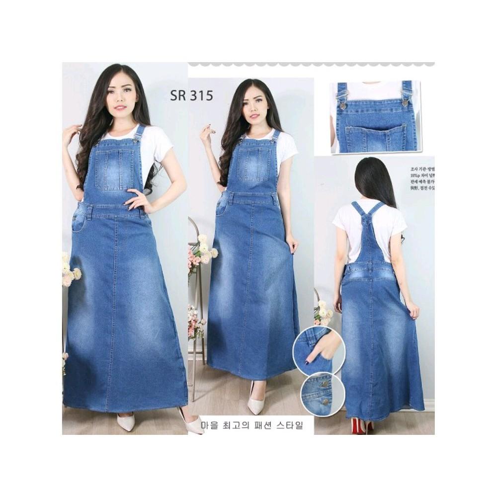 05000b9be07 Overall Jumpsuit Baju Dress Rok Kodok Gamis Panjang Jeans Import Lentur Stretch  S M L XL Warna Biru | Shopee Indonesia