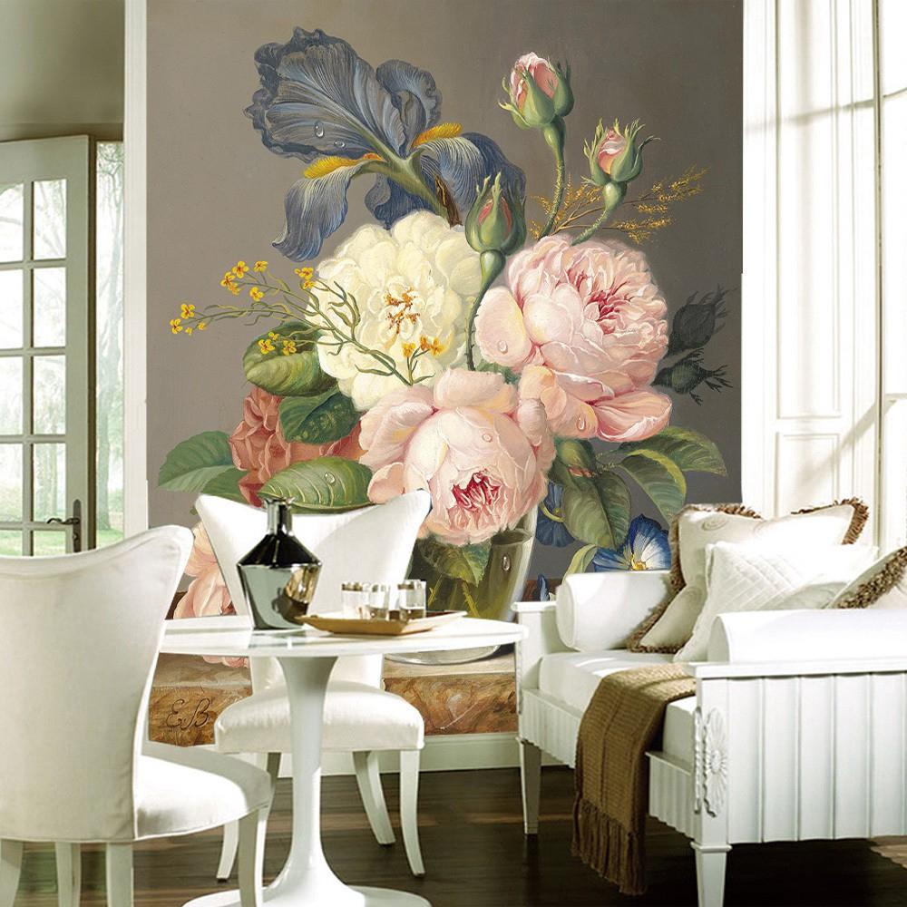 Kustom 3D Wallpaper Mewah Dekorasi Mural Dinding Bunga Seni Kamar Tidur Latar Belakang Sofa