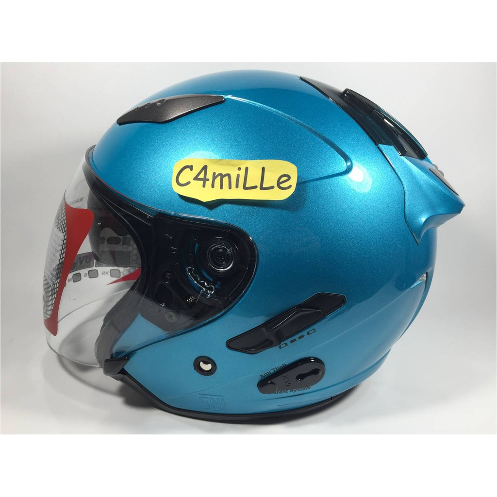 HELM MDS PROJET SOLID CY BLUE DOP DOUBLE VISOR HALF FACE | Shopee Indonesia