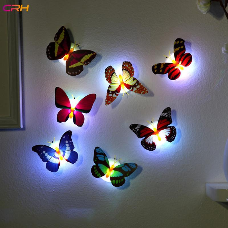 Crh Flower Type Random Colorful Glowing Butterfly Wall Light Wall Butterfly Pasteable Led Stickers Shopee Indonesia