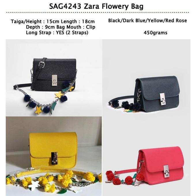 SAG4243 Zara Flowery Bag TERSEDIA DALAM 4 WARNA ( BLACK 3dff25d62c