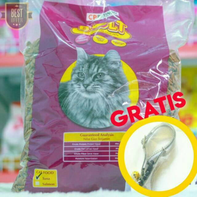Makanan Kucing Bolt Ikan 1kg Gratis Kalung Kucing Jika Beli 4 Bungkus Shopee Indonesia