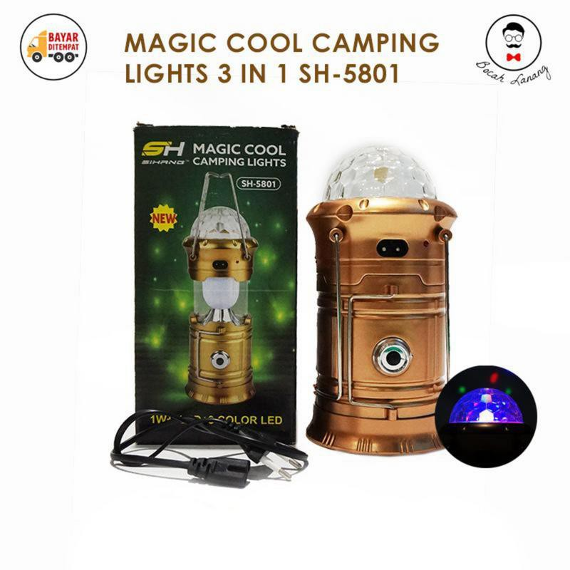 Magic Cool Camping Lights 3 In 1 Lentera Senter Lampu Disco Sh 5801 Shopee Indonesia