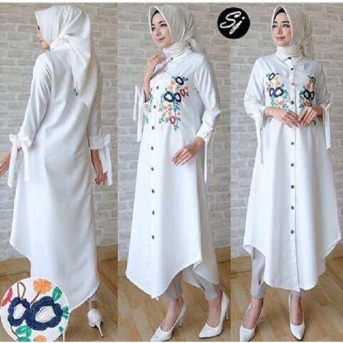 Tunik Anisa Putih Gamis 0121 Shf Baju Gamis Wanita Terbaru Shopee Indonesia