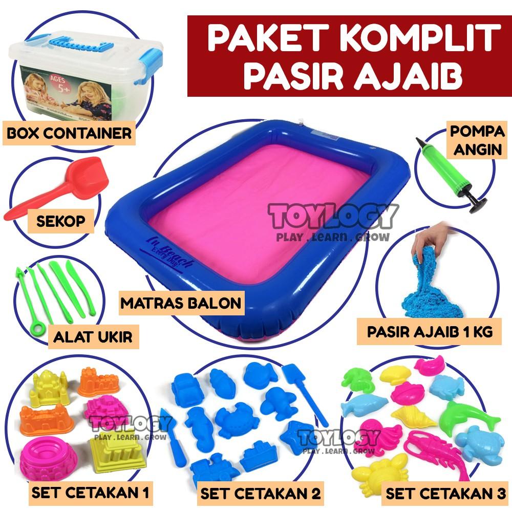 Pasir Kinetik 1kg Kinetic Sand Warna Refill Mainan Ajaib Refil  Isi 3 Toples In Motion Play Shopee Indonesia