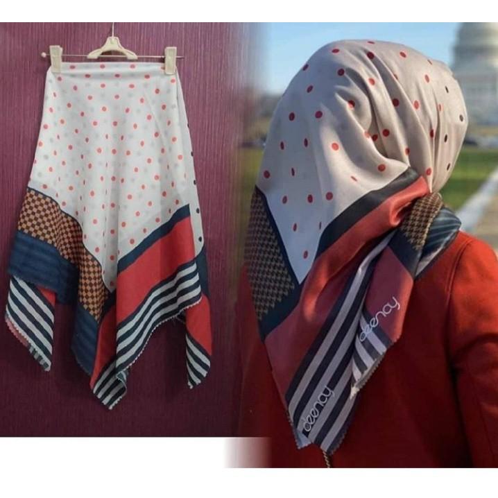 10 PCS Hijab  Segiempat Motif Denay KW Termurah Terlaris Original