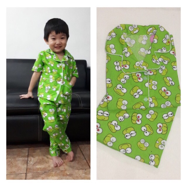 Piyama Bisa Couple Bapak Ibu Dan Anak Baju Tidur Pajamas Keropi Tangan Pendek Celana Panjang