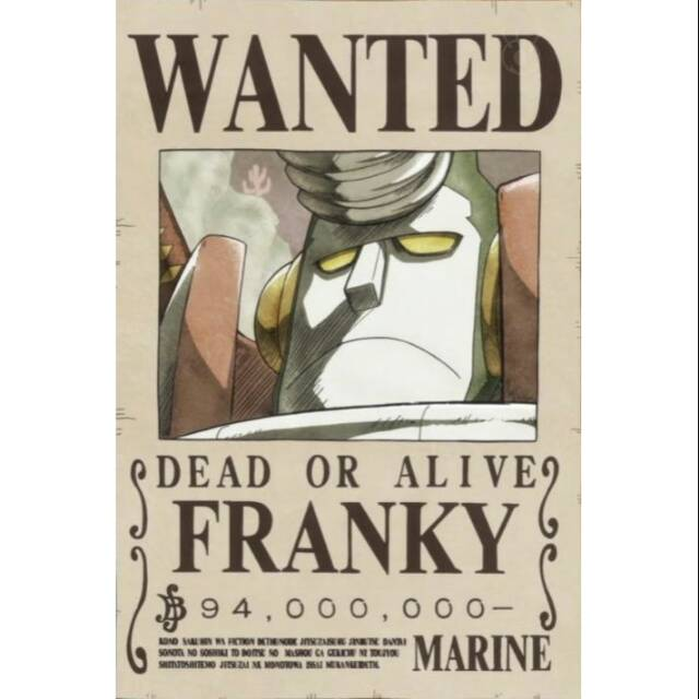 Bounty Poster Franky One Piece Laminasi Laminating Shopee Indonesia