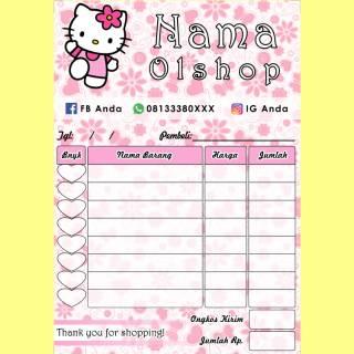 Nota Penjualan Pembelian Toko Olshop Online Shop Karakter Kartun Hello Kitty Lucu Full Color Murah