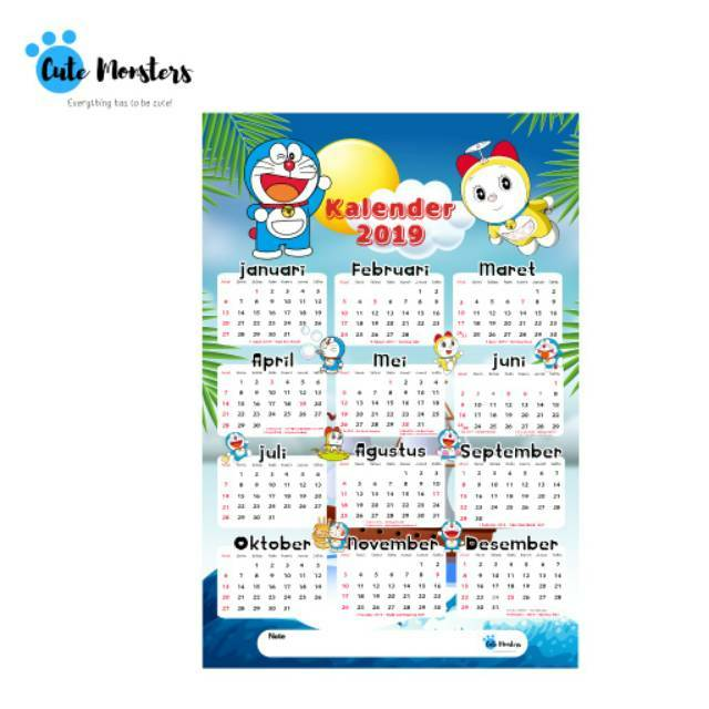 kalender 2019 kalender poster hello kitty doraemon. Black Bedroom Furniture Sets. Home Design Ideas
