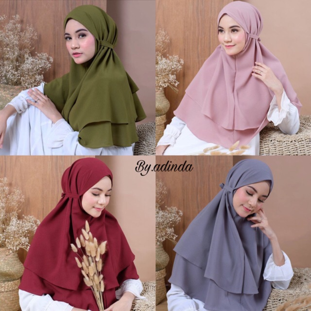 Khimar Maryam 2 Layerdouble Layer Bergo Maryam Diamond Hijab Instant Kerudung Non Pet Shopee Indonesia