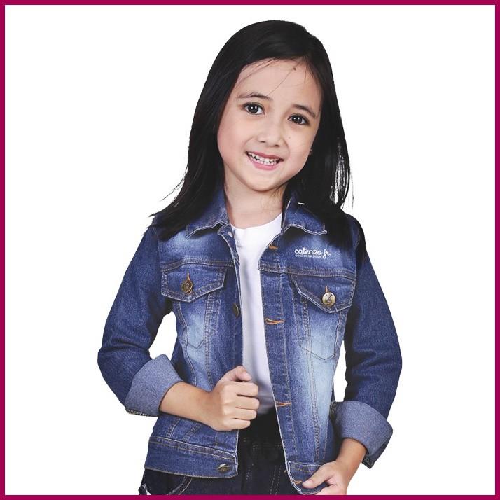 Jaket Levis Jeans Denim Anak Perempuan Casual Usia Umur 5 6 7 8 9 10 tahun Biru CNU134UN Catenzo Jr | Shopee Indonesia