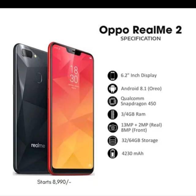 Oppo Realme 2 64 32 Gb Black Red Blue Biru Hitam Merah Garansi Resmi