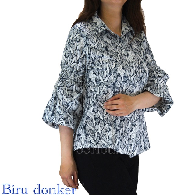 GH21- Baju atasan wanita blouse bordir bunga lengan panjang u/ muslimah dan hijaber bahan katun | Shopee Indonesia