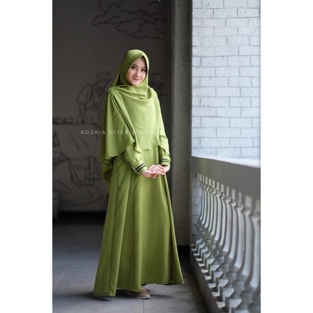 Gamis MannisQ Hijau Lumut By Adzkia Hijab Syari