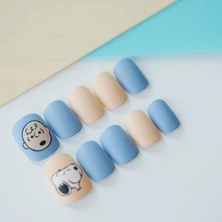 24 Kotak Stiker Kuku Palsu Motif Snoopy Warna Biru Muda Dapat Dilepas 5