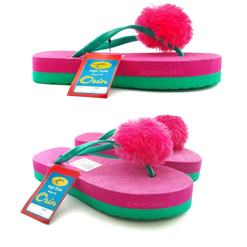 Sandal Wedges Oshin PomPom ORIN Pink Fanta / Sandal Jepit Flat Tinggi Bulu | Shopee Indonesia