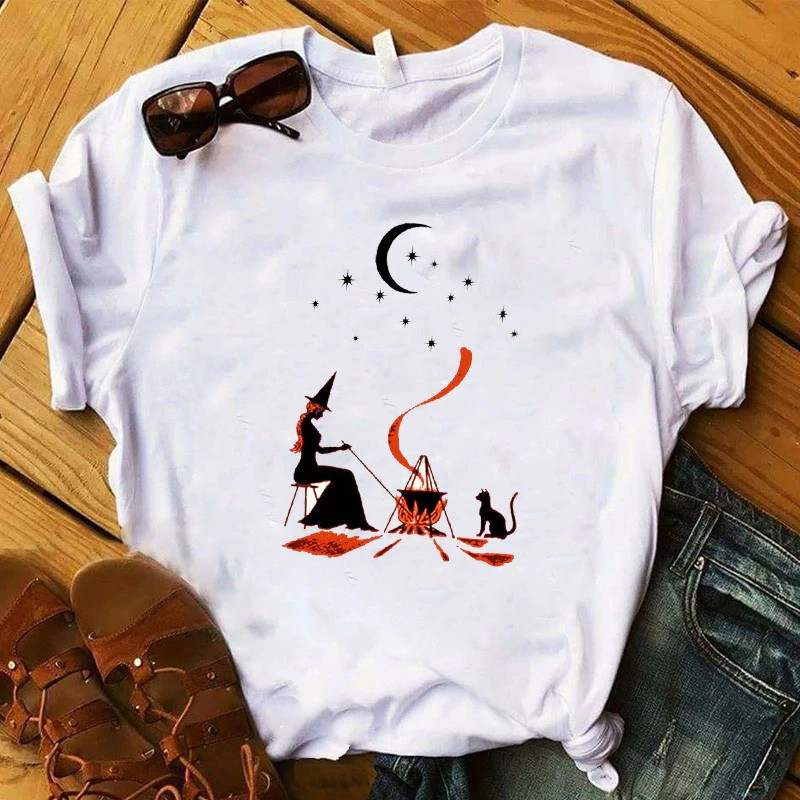 T S Basic Witch Coffee Halloween Graphic Printed Tee Shirt Top Tshirt Clothes T Shirt Shopee Indonesia