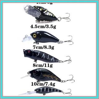 Mixed 5pcs Glow Fishing Lures Varisized Bass Crankbait Fishing Tackle Bait