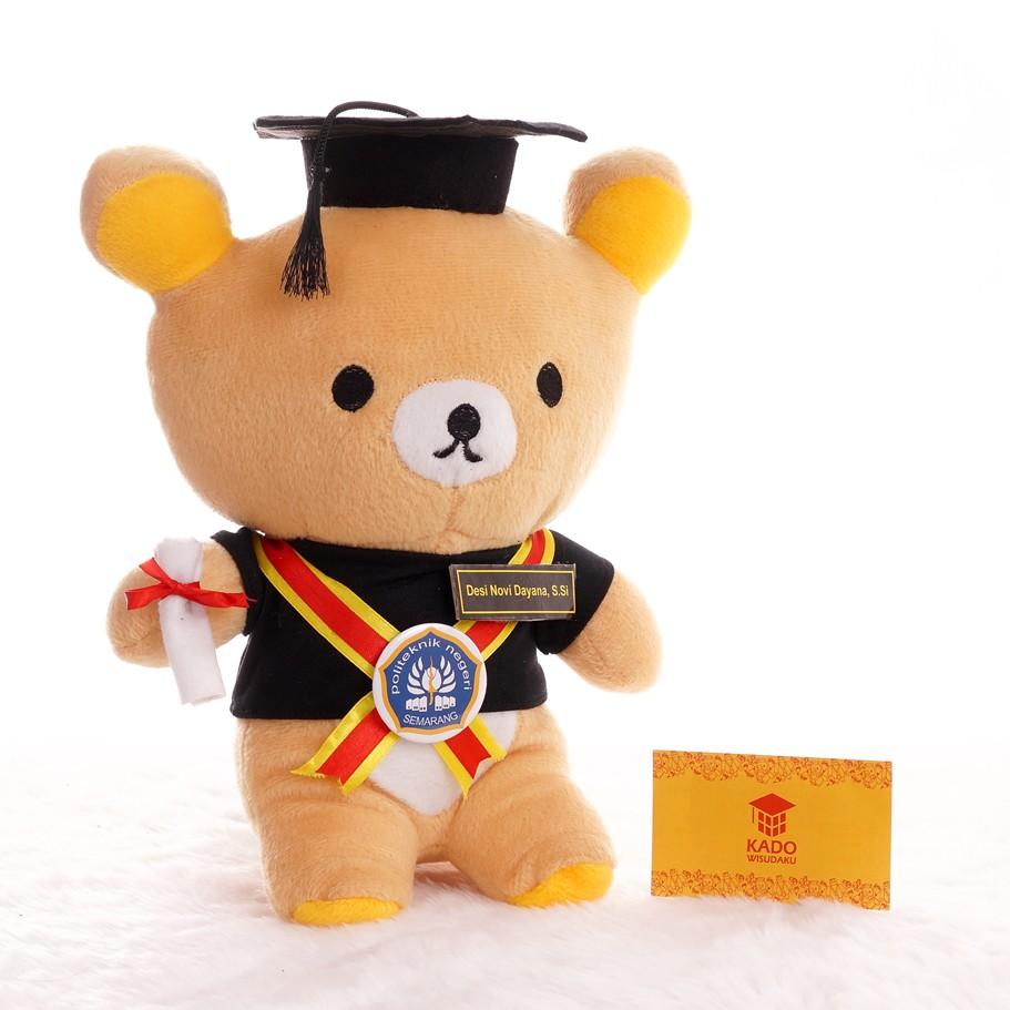 Boneka Teddy Bear Wisuda baju Toga Custom 26cm  9a6e6b4b79