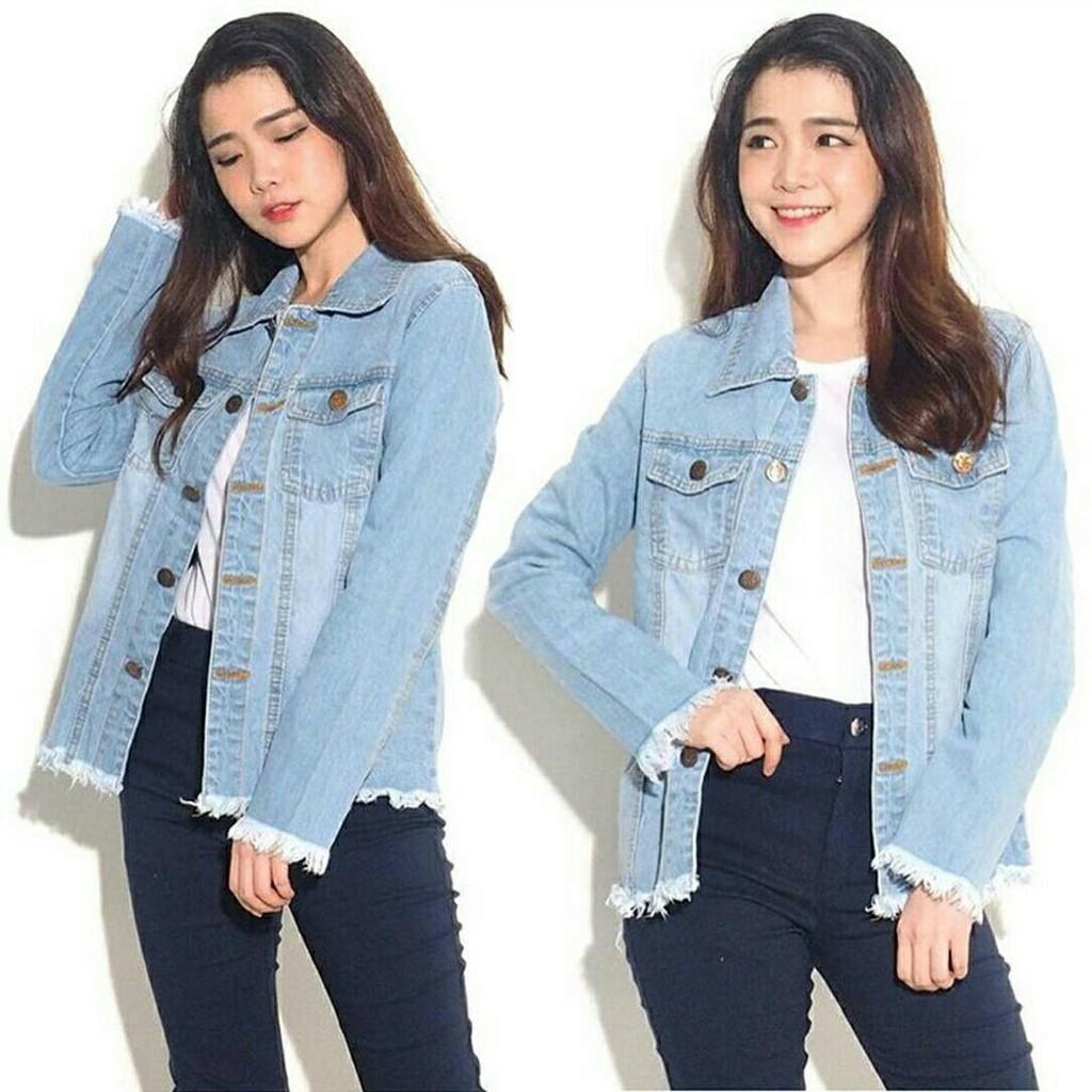 Atasan Blouse Kemeja Jeans Wanita Jumbo Vita Biru Muda Daftar Hijablana Aulia Tunik Jaket Washed Chloe Fringe Oversized Ukuran Xl Besar Bigsize