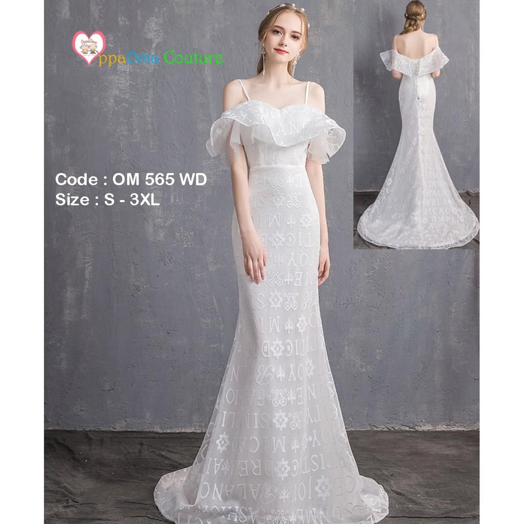 Gaun pengantin elegan model putri duyung oppaoma OM 11 WD