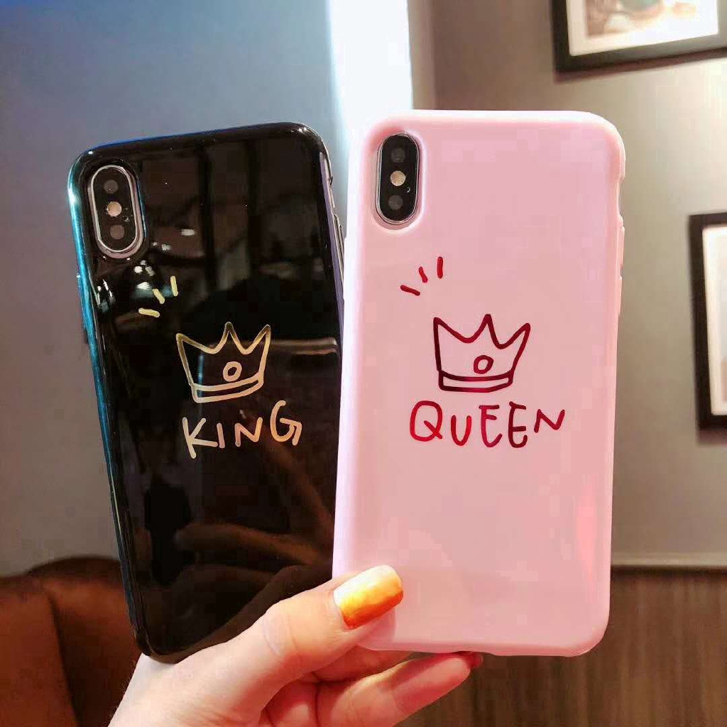 a5f6138b3a Queen And KING Pattern Phone Case Lovers Couple Hard Back Cover for iPhone  | Shopee Indonesia