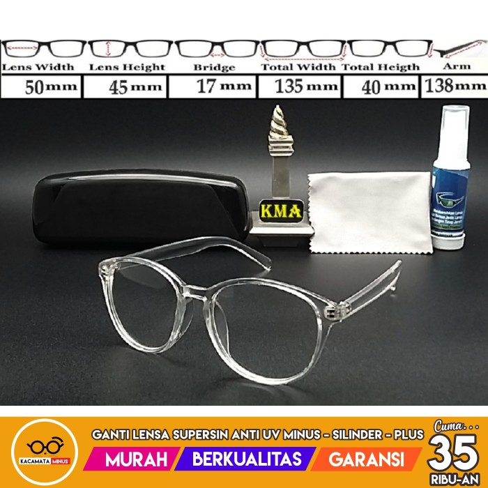 Paket Lensa Minus Frame Kacamata Bulat RETRO 8216 Classic Vintage Round  Glasses  05f9c06ff2